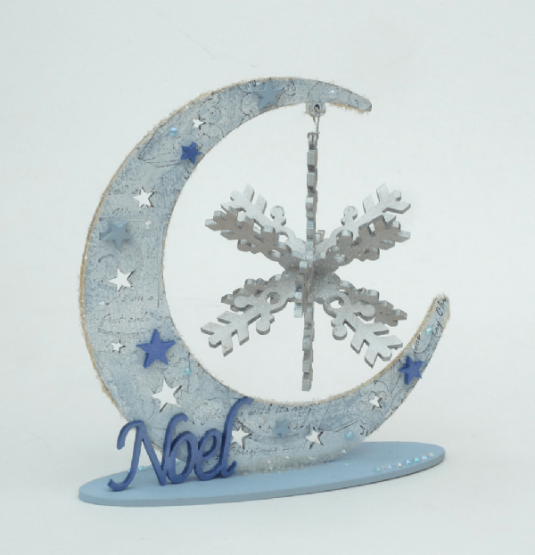 Moon with 3D Snowflake